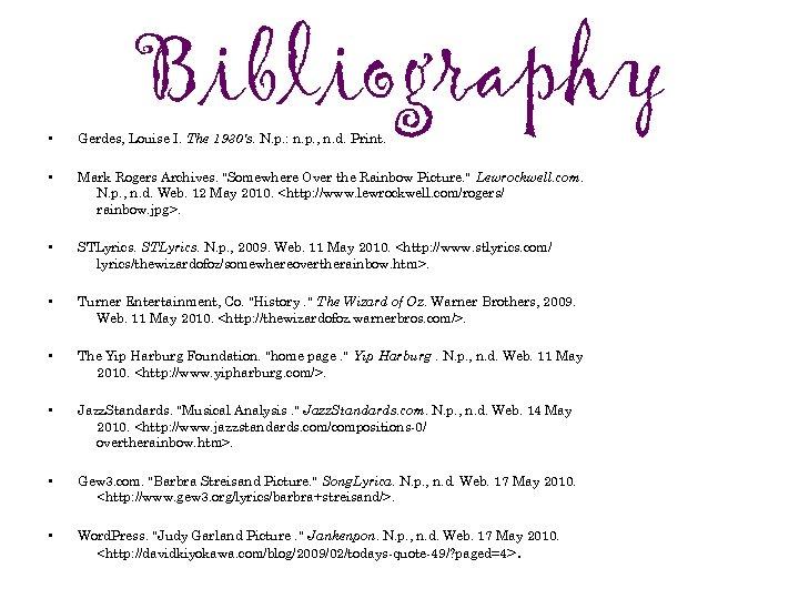 Bibliography • Gerdes, Louise I. The 1930's. N. p. : n. p. , n.