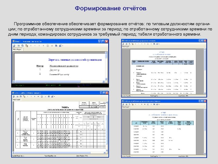 Формирование отчётов Программное обеспечение обеспечивает формирование отчётов: по типовым должностям органиции; по отработанному сотрудниками