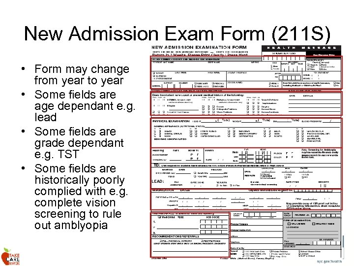 New Admission Exam Form (211 S) • Form may change from year to year