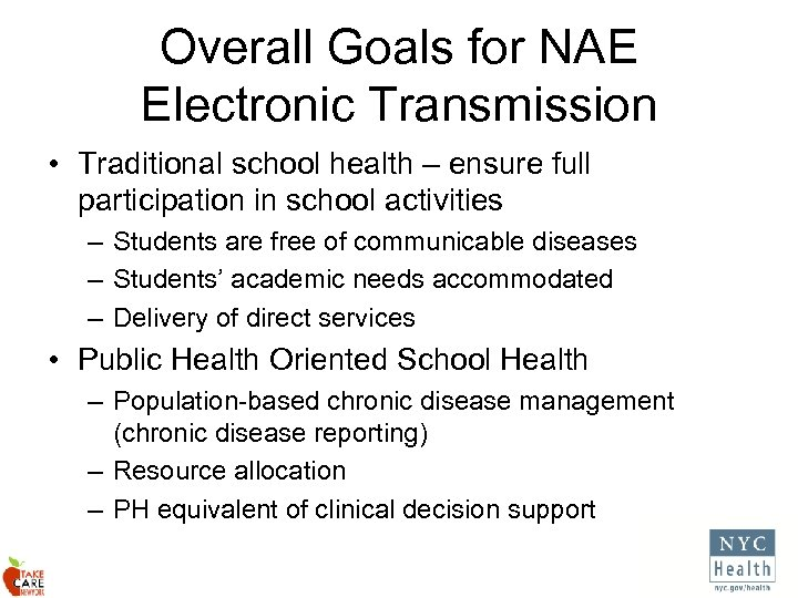 Overall Goals for NAE Electronic Transmission • Traditional school health – ensure full participation