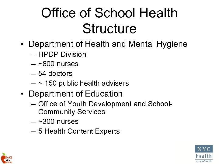 Office of School Health Structure • Department of Health and Mental Hygiene – –