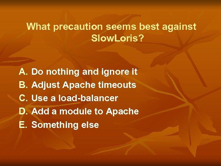 What precaution seems best against Slow. Loris? A. B. C. D. E. Do nothing