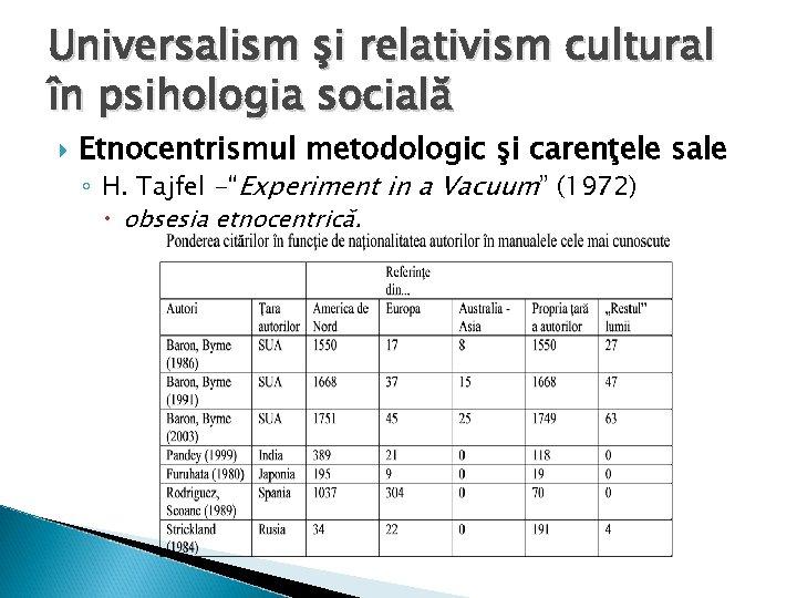 Universalism şi relativism cultural în psihologia socială Etnocentrismul metodologic şi carenţele sale ◦ H.