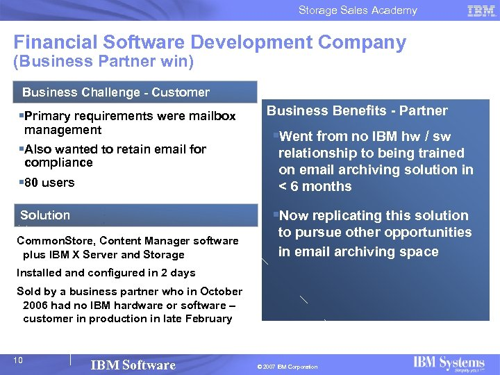 Storage Sales Academy Financial Software Development Company (Business Partner win) Business Challenge - Customer