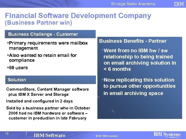 Storage Sales Academy Financial Software Development Company (Business Partner win) Business Challenge - Customer