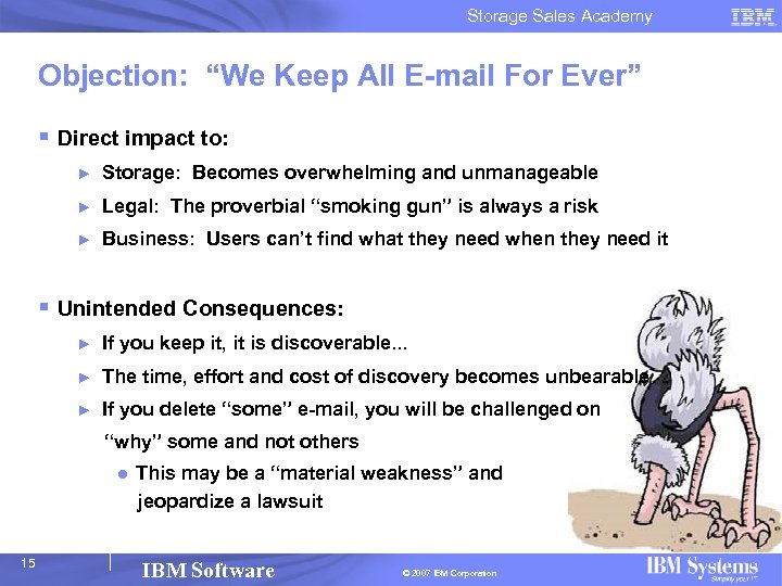 """Storage Sales Academy Objection: """"We Keep All E-mail For Ever"""" § Direct impact to:"""