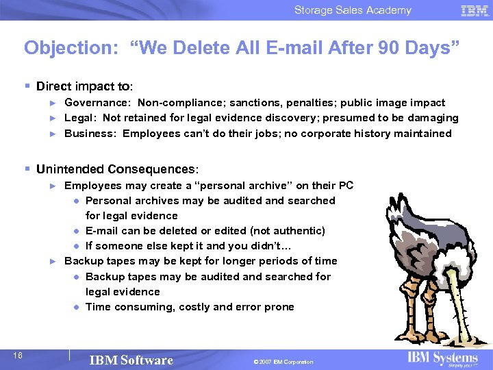 "Storage Sales Academy Objection: ""We Delete All E-mail After 90 Days"" § Direct impact"