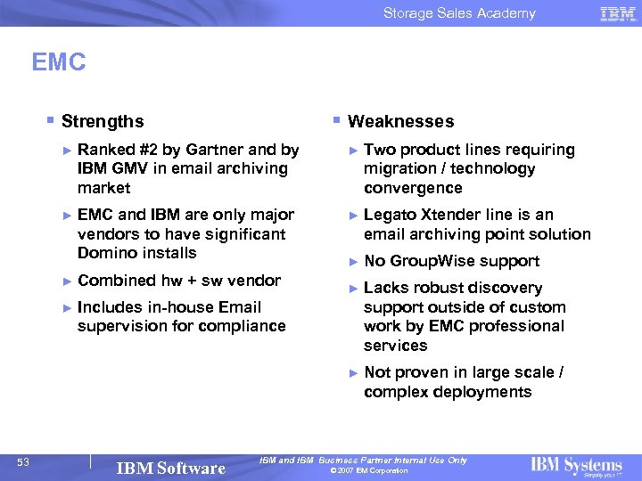 Storage Sales Academy EMC § Strengths § Weaknesses ► Ranked #2 by Gartner and