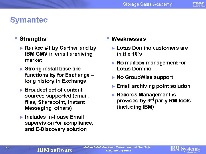 Storage Sales Academy Symantec § Strengths ► ► 57 § Weaknesses Ranked #1 by