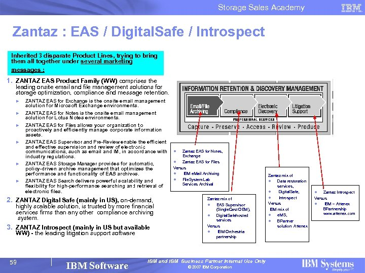Storage Sales Academy Zantaz : EAS / Digital. Safe / Introspect Inherited 3 disparate