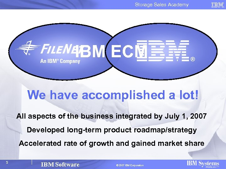 Storage Sales Academy IBM ECM We have accomplished a lot! All aspects of the