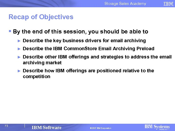 Storage Sales Academy Recap of Objectives § By the end of this session, you