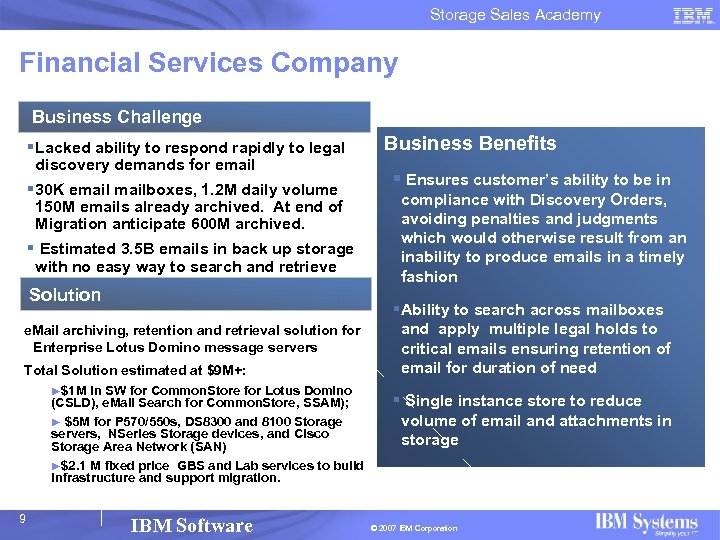 Storage Sales Academy Financial Services Company Business Challenge § Lacked ability to respond rapidly