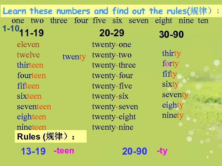Learn these numbers and find out the rules(规律): one two three four five six