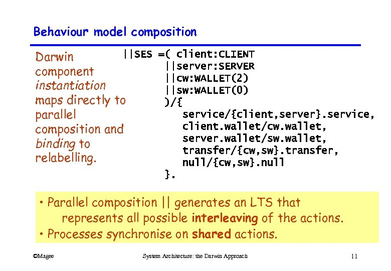 Behaviour model composition ||SES =( client: CLIENT Darwin ||server: SERVER component ||cw: WALLET(2) instantiation