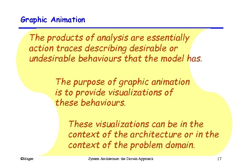 Graphic Animation The products of analysis are essentially action traces describing desirable or undesirable