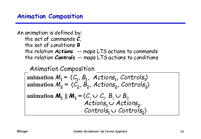 Animation Composition An animation is defined by; the set of commands C, the set