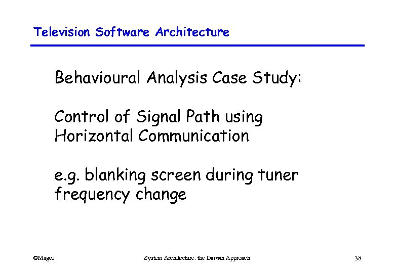 Television Software Architecture Behavioural Analysis Case Study: Control of Signal Path using Horizontal Communication