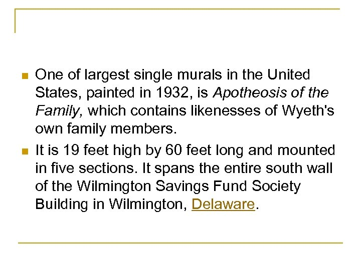 n n One of largest single murals in the United States, painted in 1932,
