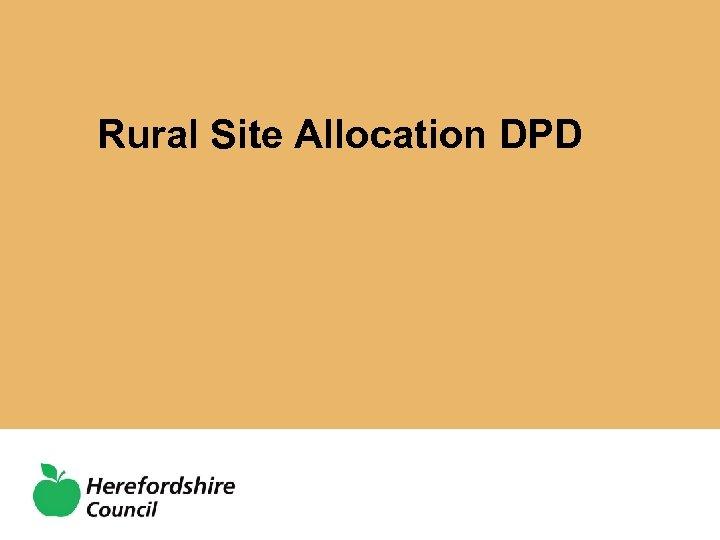 Rural Site Allocation DPD