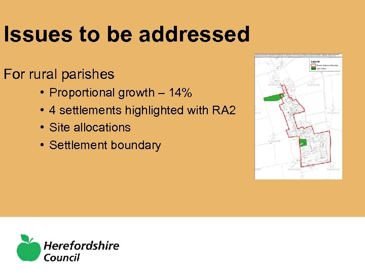 Issues to be addressed For rural parishes • • Proportional growth – 14% 4