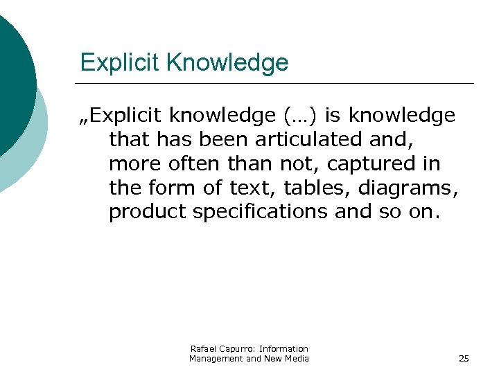 "Explicit Knowledge ""Explicit knowledge (…) is knowledge that has been articulated and, more often"