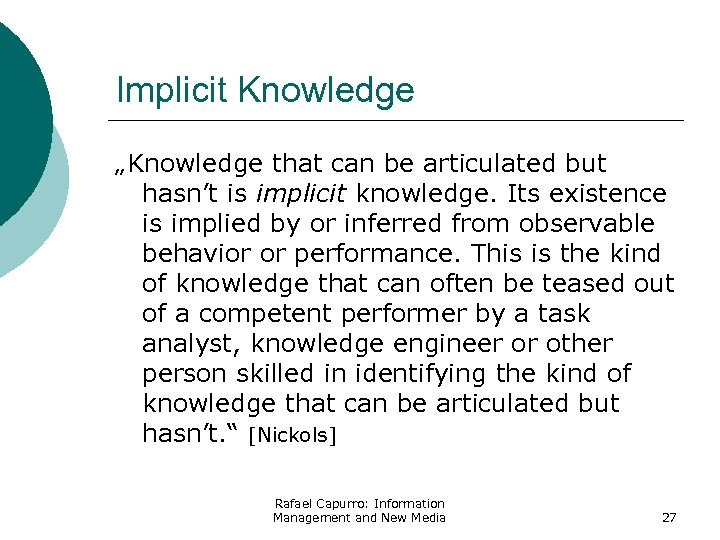 "Implicit Knowledge ""Knowledge that can be articulated but hasn't is implicit knowledge. Its existence"