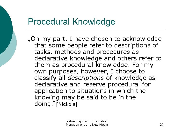 "Procedural Knowledge ""On my part, I have chosen to acknowledge that some people refer"