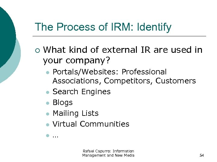 The Process of IRM: Identify ¡ What kind of external IR are used in