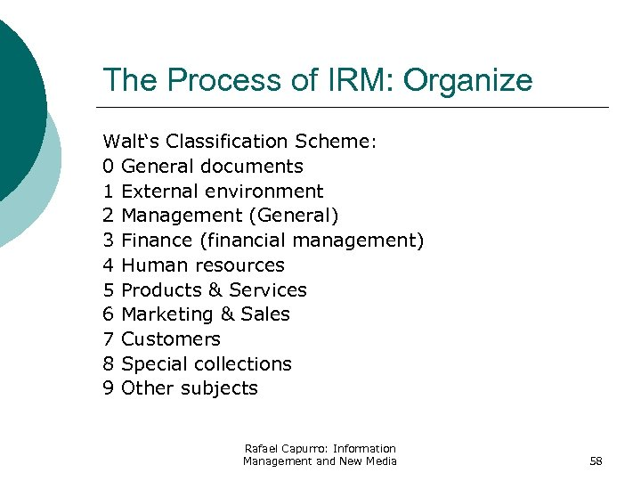 The Process of IRM: Organize Walt's Classification Scheme: 0 General documents 1 External environment