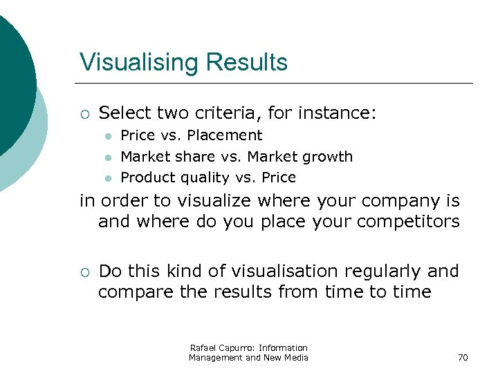 Visualising Results ¡ Select two criteria, for instance: l l l Price vs. Placement