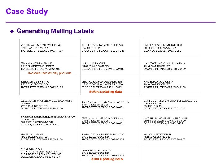 Case Study u Generating Mailing Labels Duplicate records only print one Before updating data