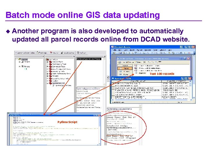 Batch mode online GIS data updating u Another program is also developed to automatically