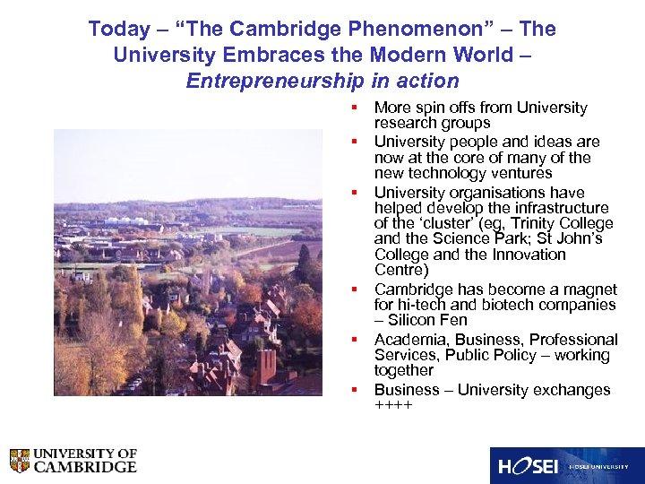 """Today – """"The Cambridge Phenomenon"""" – The University Embraces the Modern World – Entrepreneurship"""