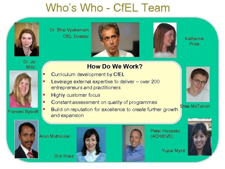Who's Who - Cf. EL Team Dr. Shai Vyakarnam Cf. EL Director Dr. Jo