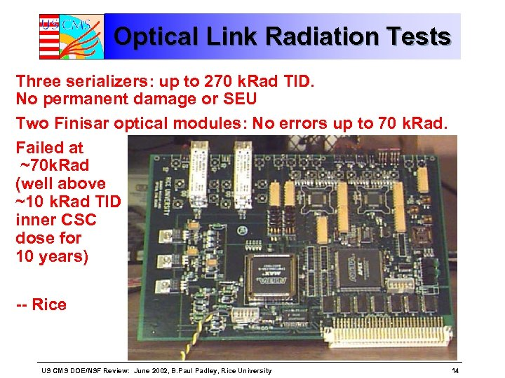 Optical Link Radiation Tests Three serializers: up to 270 k. Rad TID. No permanent