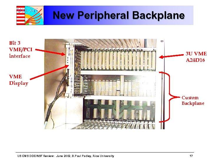 New Peripheral Backplane Bit 3 VME/PCI interface 3 U VME A 24 D 16