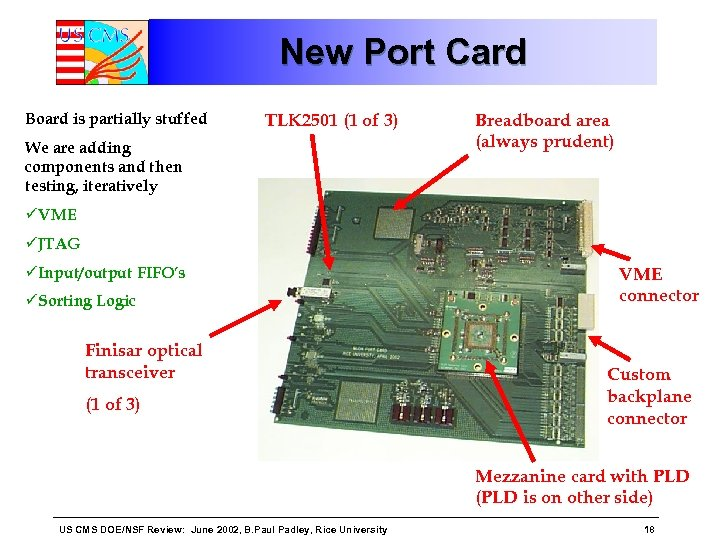New Port Card Board is partially stuffed TLK 2501 (1 of 3) We are