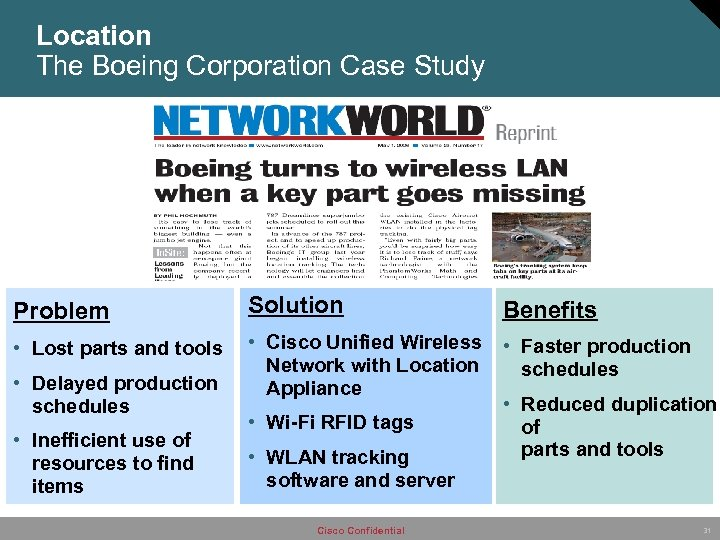 Location The Boeing Corporation Case Study Problem Solution Benefits • Lost parts and tools