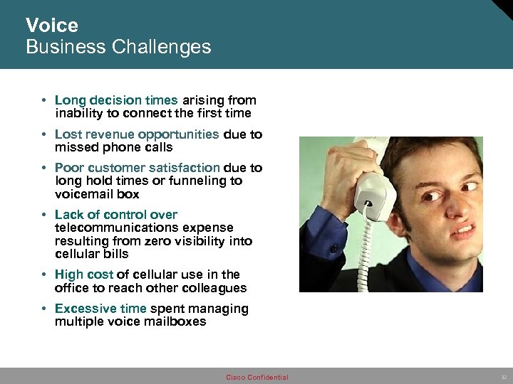 Voice Business Challenges • Long decision times arising from inability to connect the first