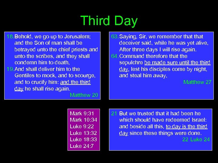 Third Day 18. Behold, we go up to Jerusalem; and the Son of man