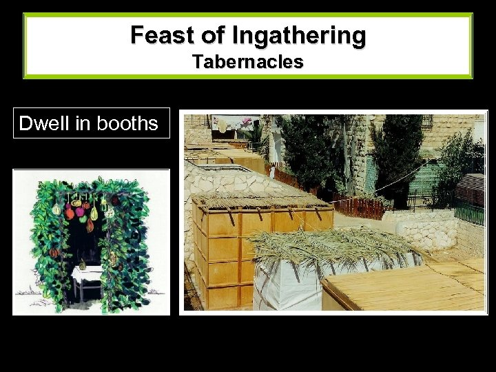 Feast of Ingathering Tabernacles Dwell in booths