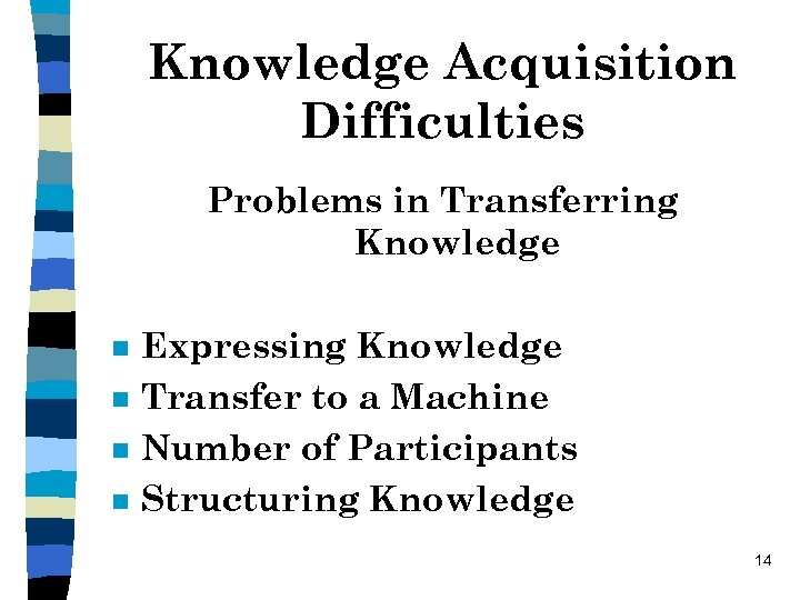 Knowledge Acquisition Difficulties Problems in Transferring Knowledge n n Expressing Knowledge Transfer to a