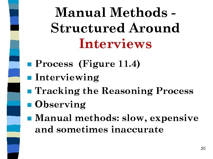 Manual Methods Structured Around Interviews n n n Process (Figure 11. 4) Interviewing Tracking