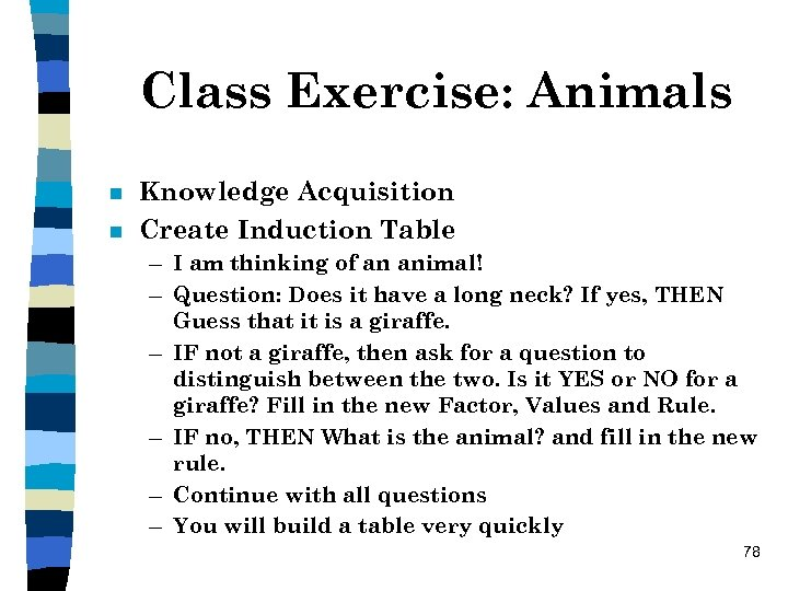 Class Exercise: Animals n n Knowledge Acquisition Create Induction Table – I am thinking