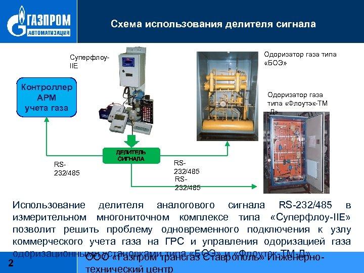 Схема использования делителя сигнала Одоризатор газа типа «БОЭ» Суперфлоу. IIЕ Контроллер АРМ учета газа