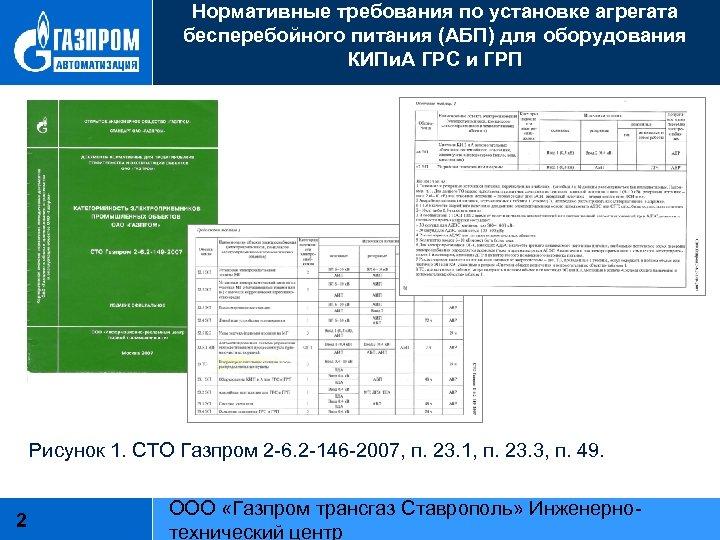 Нормативные требования по установке агрегата бесперебойного питания (АБП) для оборудования КИПи. А ГРС и