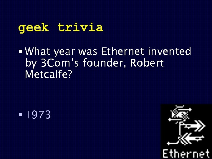 geek trivia § What year was Ethernet invented by 3 Com's founder, Robert Metcalfe?