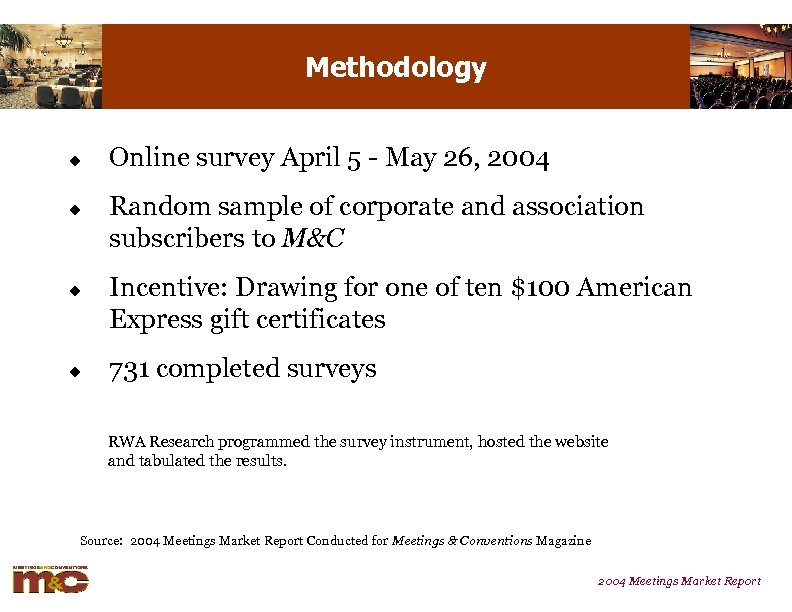 Methodology u u Online survey April 5 - May 26, 2004 Random sample of