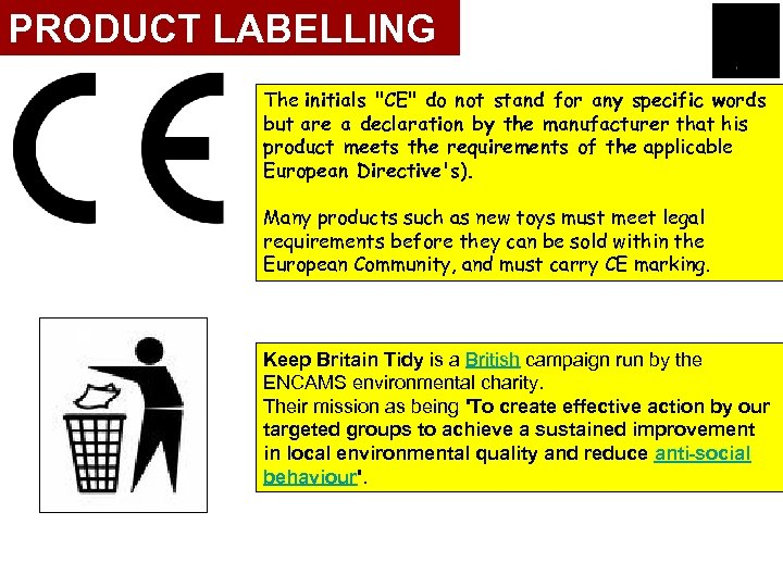 PRODUCT LABELLING The initials